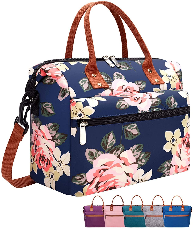 Bolsa para almuerzo con estilo floral con correa de hombro ajustable.