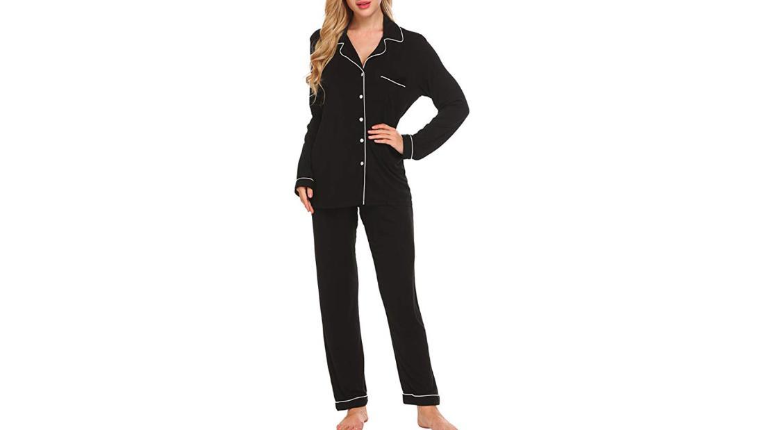Pijama Ekouaer negra de dos piezas para mujer